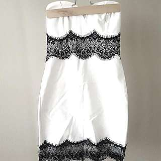 White Bodycon Dress With Black Lace - SMALL