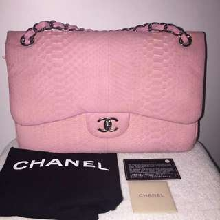 Auth Chanel Light Pink Matte Python Double Flap Jumbo Bag