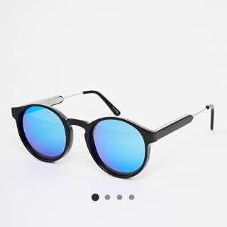 Spitfire Round Blue Reflective Mirrored Sunglasses