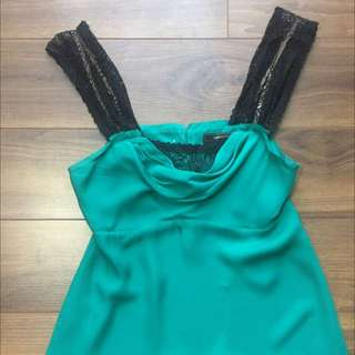 BCBG Silk Camisole With Lace Details In Size XS