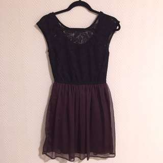 Dynamite Black Lace Purple Chiffon Dress