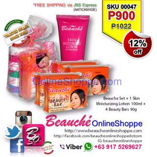 Beauche Set + 1 Skin Moisturizing  Lotion 100ml + 4 Beauty Bars 90g (SKU 00047)