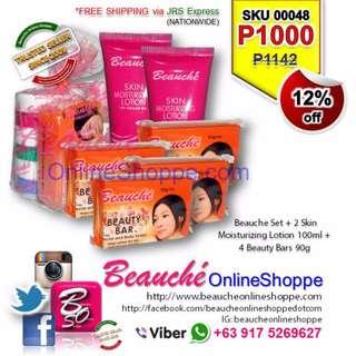 Beauche Set + 2 Skin Moisturizing  Lotion 100ml + 4 Beauty Bars 90g (SKU 00048)
