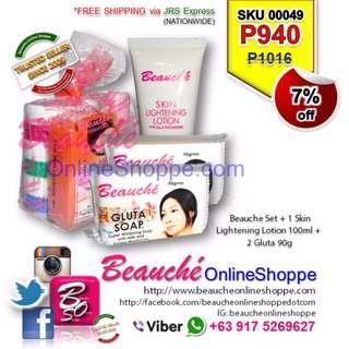 Beauche Set + 1 Skin Lightening Lotion 100ml + 2 Gluta 90g (SKU 00049)