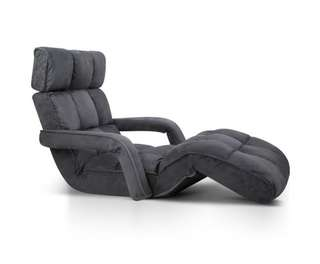 Single Size Lounge Chair with Arms - Charcoal
