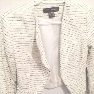 Suzy Shier: White With Black Stripes Blazer