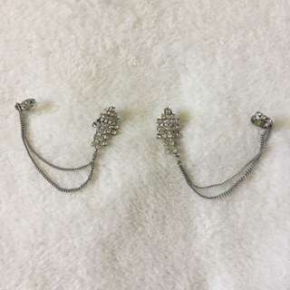 H&M Crystal Earrings With Ear Cuffs