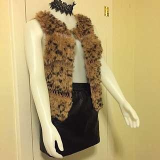 BCBG MAXAZRIA Fur Leopard Vest