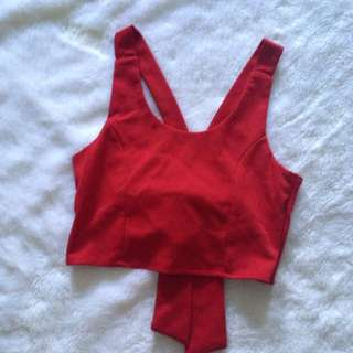 Red Ribbon Crop Top