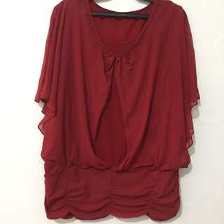 Chiffon Double Layered Red Butterfly Top L