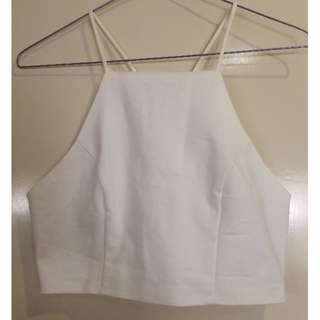 white high neck cropped top