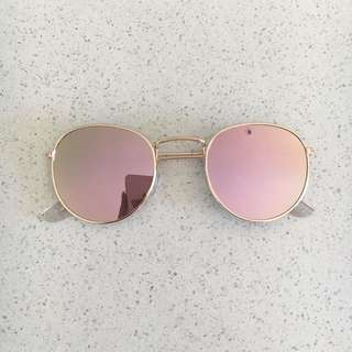 Rose Gold Reflective Round Rayban Style Sunglasses