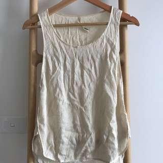 Willow White Sleeveless Silk Top, Sz10