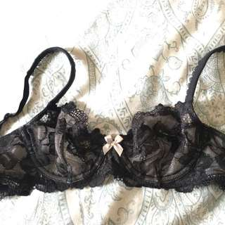 NEW Black Victoria's Secret Unlined Lace Bra SIZE 32A