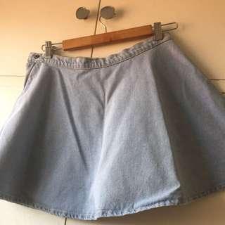 American Apparel Light Blue Denim Skater Skirt
