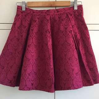 Red Maroon Skater Skirt Vintage Rockabilly