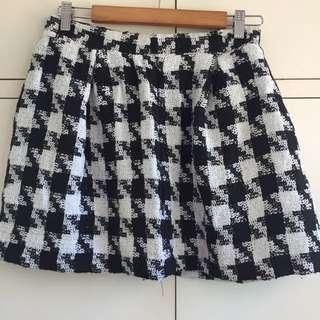 Houndstooth Black And White Skater Skirt