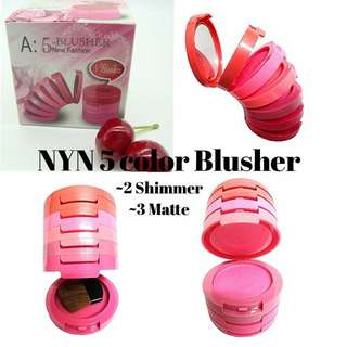 InStock Nyn 5 Color Blusher  -2 Shimmer (1st & 4th) -3 Matte (2nd,3rd,5th)
