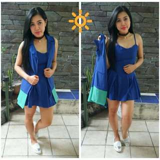 Setelan Mini Dress + Outer Long Vest
