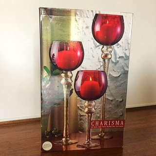 Hand Crafted Glass Red Hurricane Candle Holders (Set of 3)