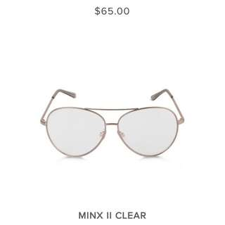 AUTHENTIC. BRAND NEW W TAGS, SKYE AND LACH OVERSIZED CLEAR LENSE/GOLD FRAME AVIATORS.