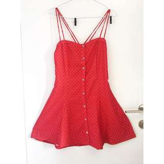 BERSHKA Polkalove Red Dress