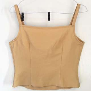 Beige Crop Top Zipper Samping