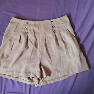 Tan High Waisted Flowy Shorts
