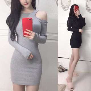 Shoulder Cut Out Elegant Classy Minimalist Long Sleeve Dress ( Grey Gray . Black ) - Code H636