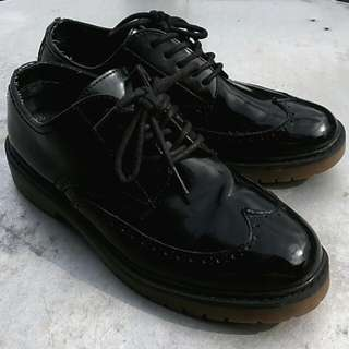 Pull and Bear ORI - Black Leather Oxford - mulus terawat