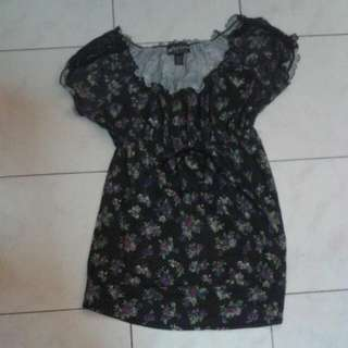 Flowery Shirt With Stretchable Waist