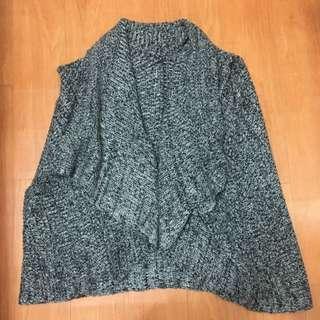 垂墜感背心式針織毛衣開襟披肩外套
