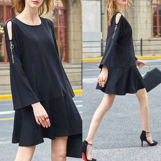 Slit Caged Flare Sleeves Black Minimalist Sleek Dress - Code H637