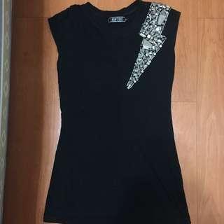 金屬裝飾黑色無袖中長版上衣