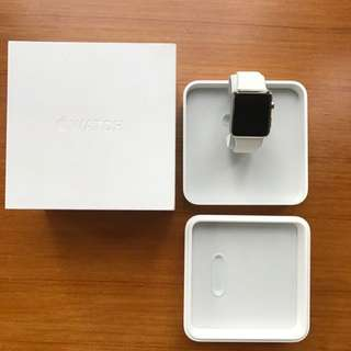 Apple Watch 42mm Stainless Steel With White Band