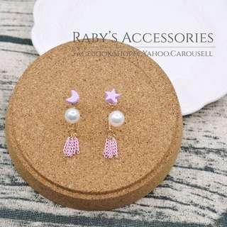 現貨→不對稱小巧月亮星星造型耳環 #150380【Raby芮彼飾品】