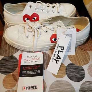 converse white comme des garcons play chick taylor low sneakers
