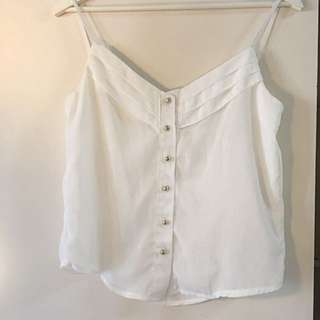 White Sheer Blouse W Brass Coloured Buttons