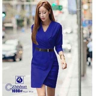 #587 Elegant Korean Wrap Dress with Belt