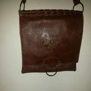AUTHENTIC BROWN LEATHER PRADA SIDE BAG