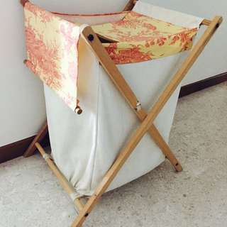 laundry basket. wooden frame and fabric from europe