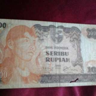 uang kertas 1000rupiah th.1968