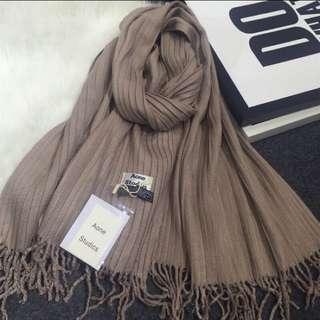 細針織坑條流蘇圍巾