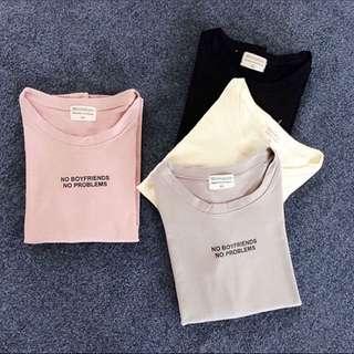 韓版莫代爾棉膠印字母上衣
