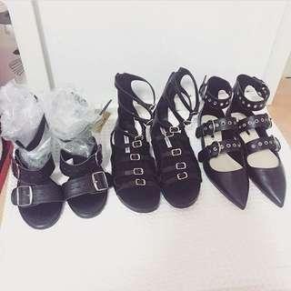 Zara鐵圈側釦繞踝尖頭鞋