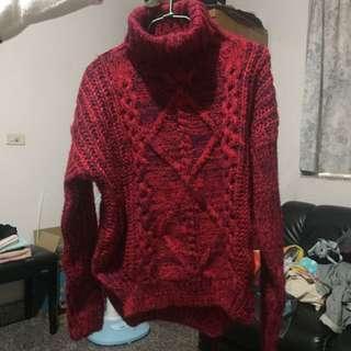 紅色高領毛衣