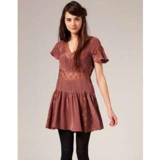 🚚 英國品牌 100% silk 真絲洋裝 蕾絲乾燥玫瑰色