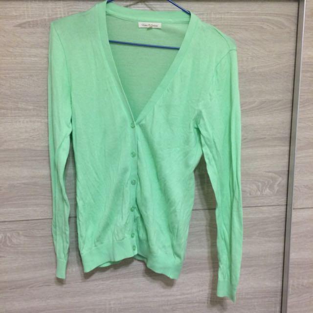 青草綠針織外套