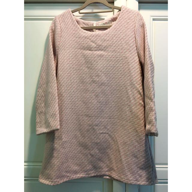 [二手]粉白織紋毛料長版上衣/洋裝