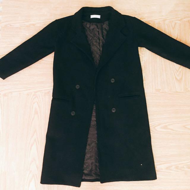 韓版素黑大衣